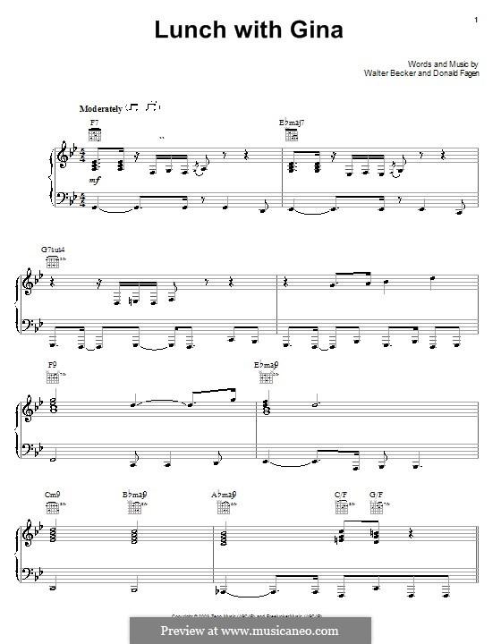 Lunch with Gina (Steely Dan): Für Stimme und Klavier (oder Gitarre) by Donald Fagen, Walter Becker