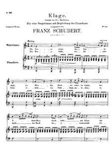 Klage, D.415: Für Stimme und Klavier (A minor) by Franz Schubert