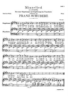 Minnelied, D.429: Klavierauszug mit Singstimmen by Franz Schubert