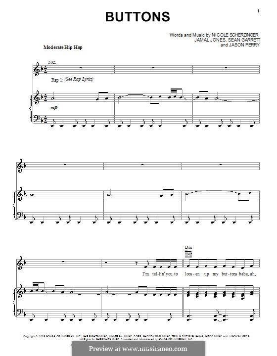 Buttons (Pussycat Dolls ft Snoop Dogg): Für Stimme und Klavier (oder Gitarre) by Jamal Jones, Jason Perry, Nicole Scherzinger, Sean Garrett