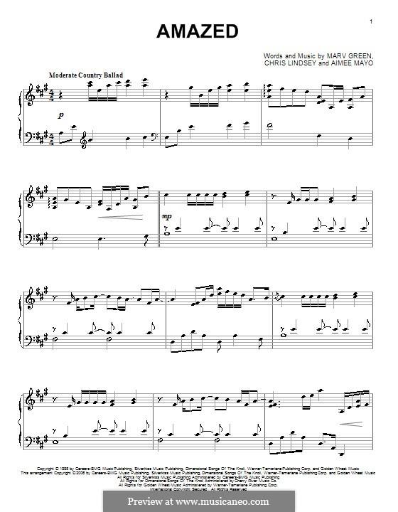 Amazed (Lonestar): Für Klavier by Aimee Mayo, Chris Lindsey, Marv Green