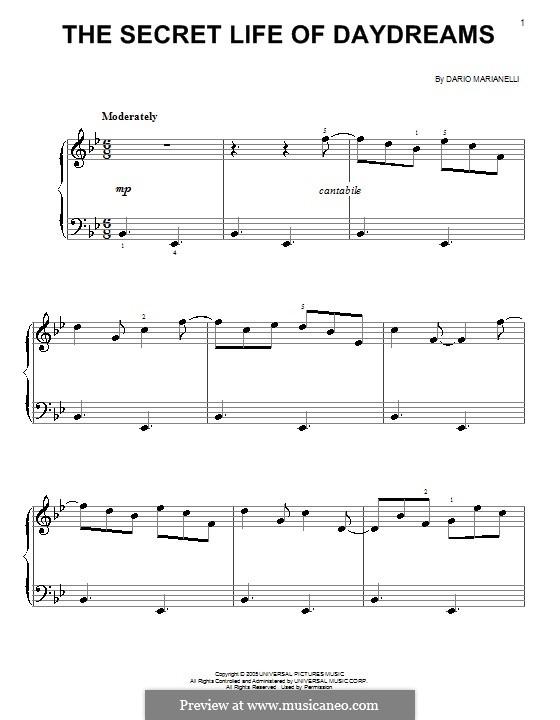 The Secret Life of Daydreams: Einfache Noten für Klavier by Dario Marianelli