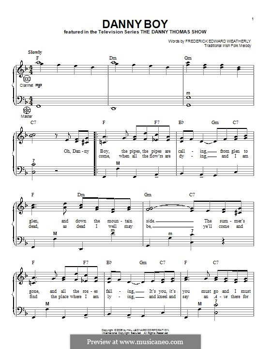 Danny Boy (Londonderry Air) Printable Scores: Für Akkordeon by folklore