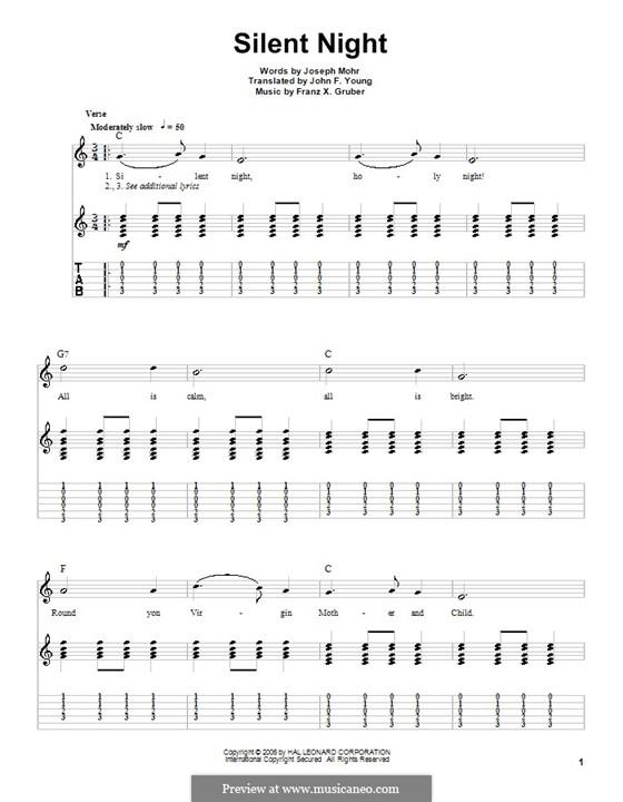 Stille Nacht (Noten zum Direktausdruck): Für Gitarre (C Major) by Franz Xaver Gruber