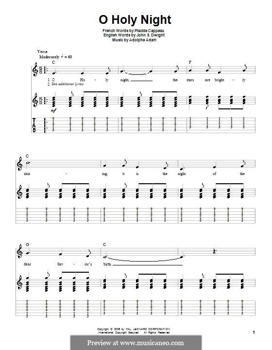O Holy Night (Printable Scores): Für Gitarre mit Tabulatur by Adolphe Adam