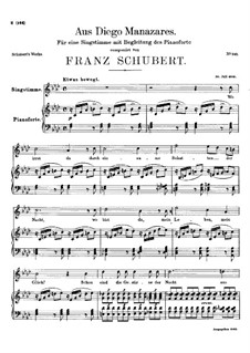 Aus Diego Manazares, D.458: As-Dur by Franz Schubert