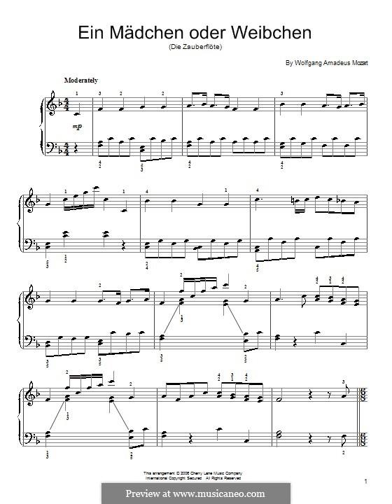 Ein Mädchen oder Weibchen: Für Klavier by Wolfgang Amadeus Mozart