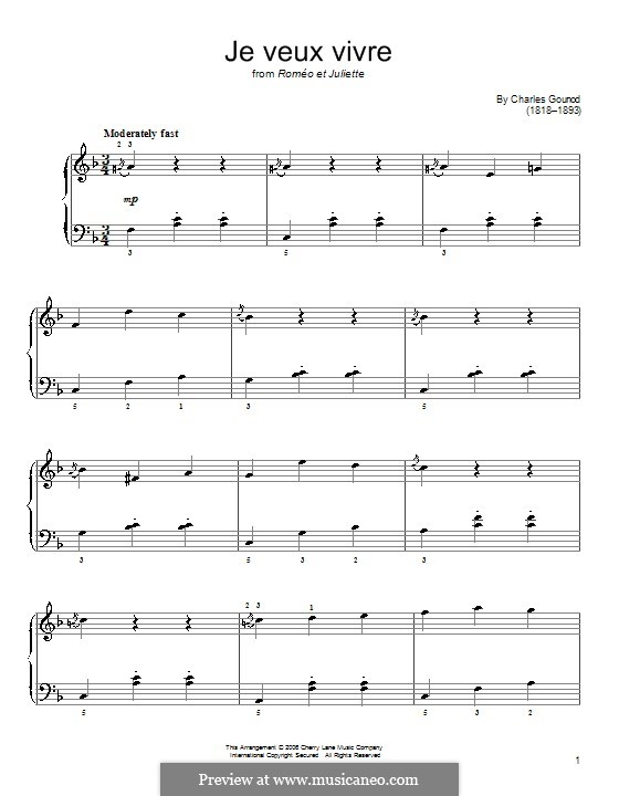 Romeo und Julia: Ah! Je veux vivre, for easy piano by Charles Gounod