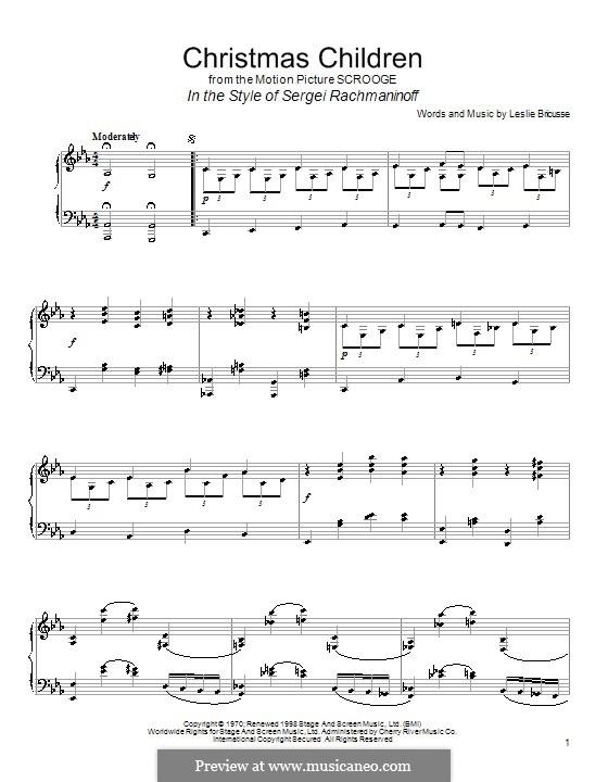 Christmas Children (from Scrooge): Für Klavier by Leslie Bricusse