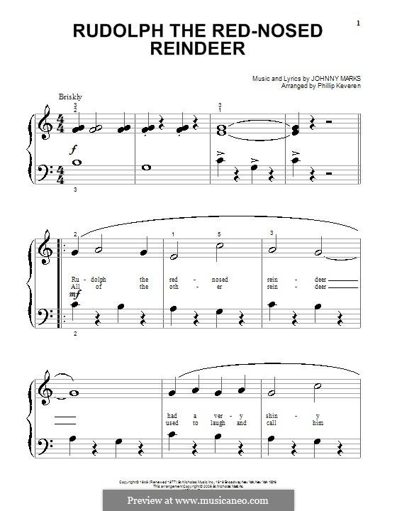 Rudolph the Red-Nosed Reindeer: Für Klavier (sehr leichte Fassung) by Johnny Marks
