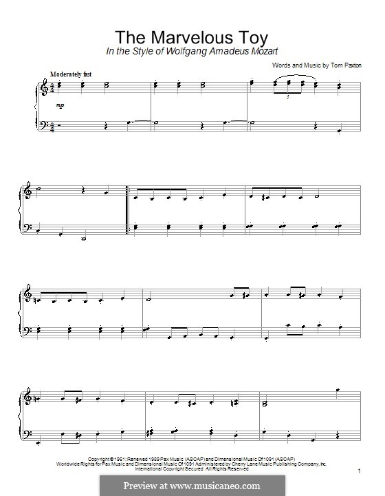 The Marvelous Toy: Für Klavier by Tom Paxton