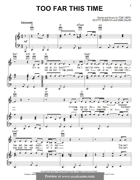 Too Far This Time: Für Stimme und Klavier (oder Gitarre) by Dean Dillon, Scott Emerick