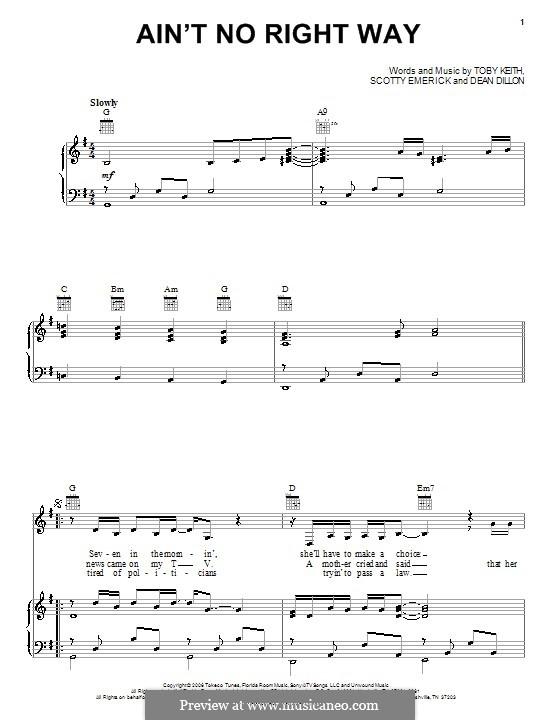 Ain't No Right Way: Für Stimme und Klavier (oder Gitarre) by Dean Dillon, Scott Emerick