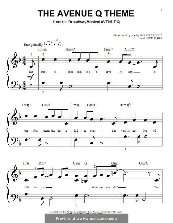 The Avenue Q Theme (Avenue Q): Für Klavier (sehr leichte Fassung) by Jeff Marx, Robert Lopez