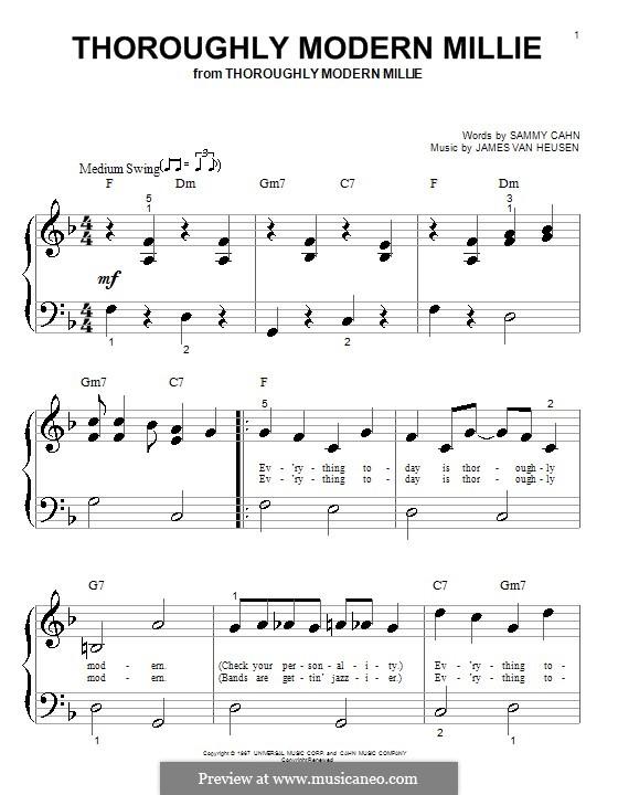 Thoroughly Modern Millie: Für Klavier (sehr leichte Fassung) by Jimmy Van Heusen