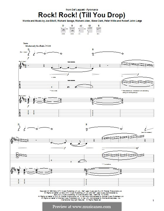 Rock! Rock! (Till You Drop): Für Gitarre mit Tabulatur (Def Leppard) by Joe Elliott, Peter Willis, Richard Allen, Richard Savage, Robert John Lange, Steve Clark