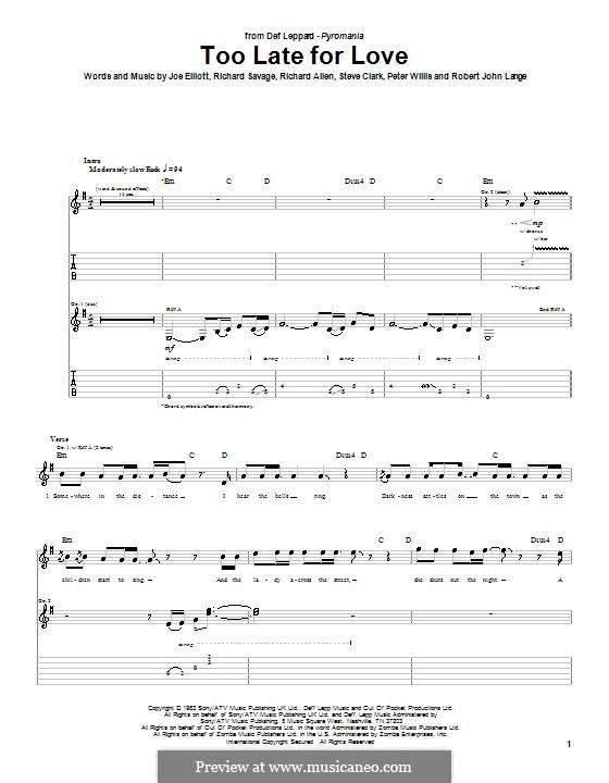 Too Late for Love (Def Leppard): Für Gitarre mit Tab by Joe Elliott, Peter Willis, Richard Allen, Richard Savage, Robert John Lange, Steve Clark