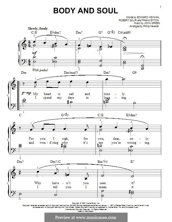 Body and Soul: Für Klavier (Sarah Vaughan) by John W. Green