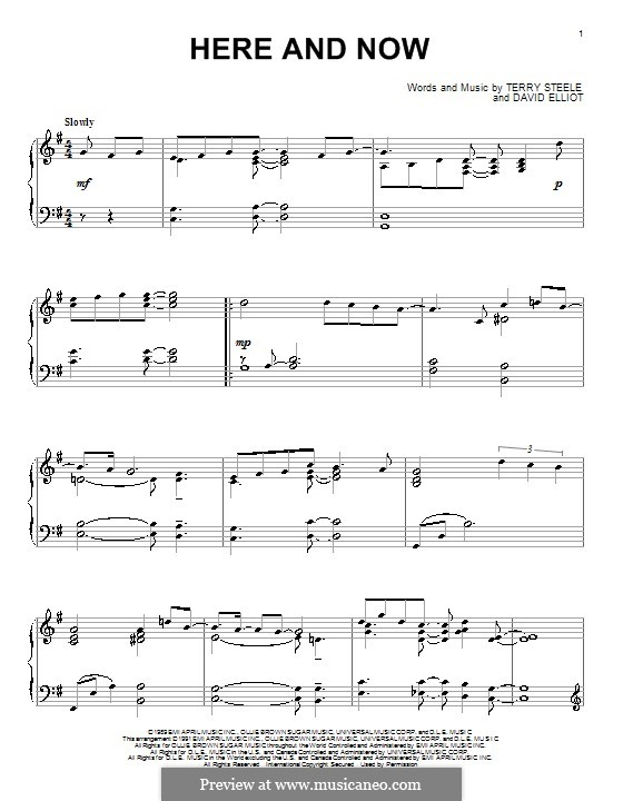 Here and Now (Luther Vandross): Für Klavier by David Elliot, Terry Steele