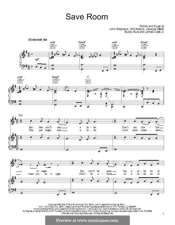 Save Room (John Legend): Für Stimme und Klavier (oder Gitarre) by Buddy Buie, James Cobb Jr., Jessyca Wilson, John Stephens, will.i.am