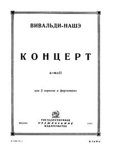 Konzert für zwei Violinen und Streicher Nr.8 in a-Moll, RV 522: Version für zwei Violinen und Klavier by Antonio Vivaldi
