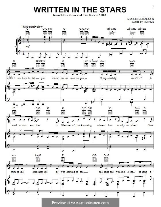 Written in the Stars: Für Stimme und Klavier (oder Gitarre) by Elton John