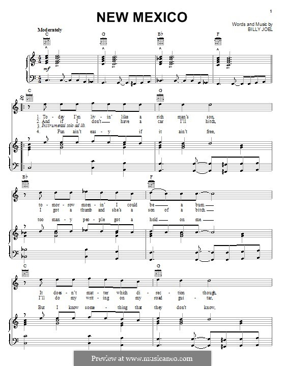 New Mexico: Für Stimme und Klavier (oder Gitarre) by Billy Joel