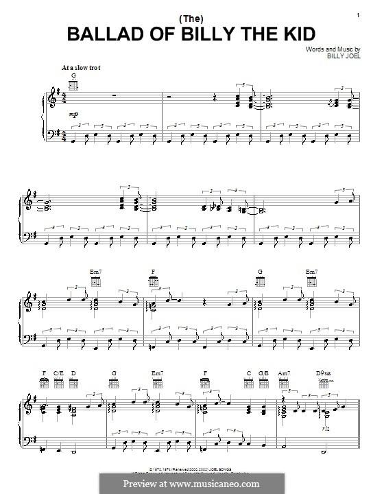 (The) Ballad of Billy the Kid: Für Stimme und Klavier (oder Gitarre) by Billy Joel