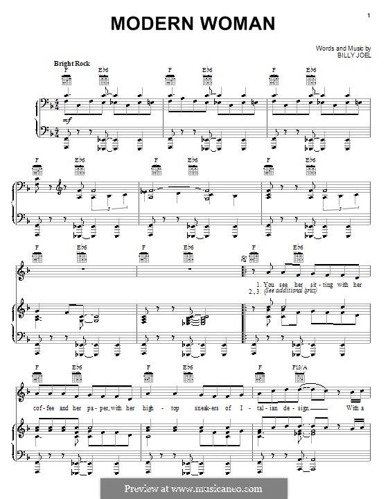 Modern Woman: Für Stimme und Klavier (oder Gitarre) by Billy Joel