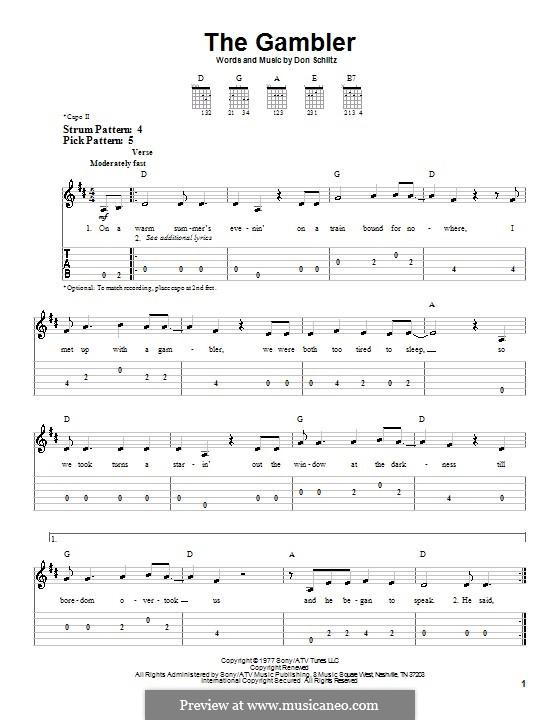The Gambler (Kenny Rogers): Für Gitarre (Sehr leichte Fassung) by Don Schlitz