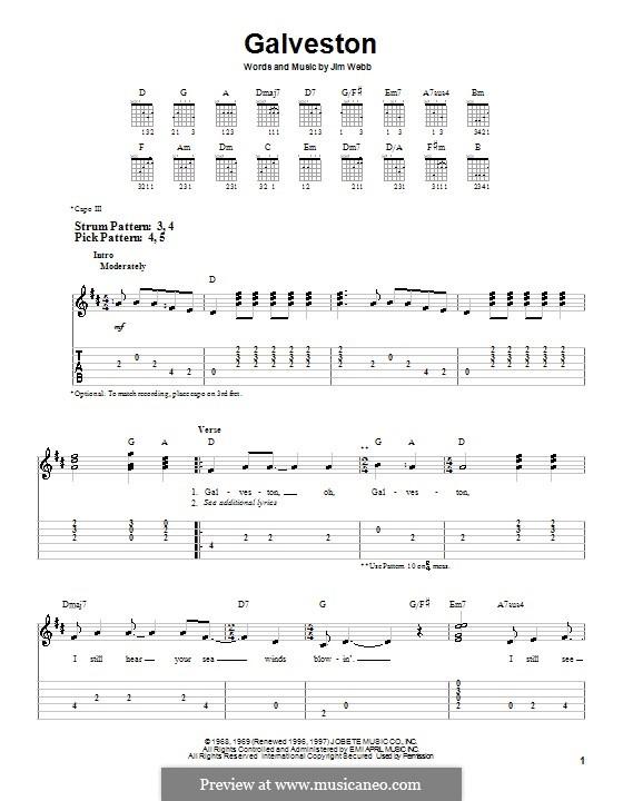 Galveston (Glen Campbell): Für Gitarre (Sehr leichte Fassung) by Jimmy Webb
