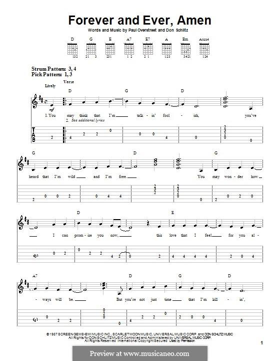 Forever and Ever, Amen (Randy Travis): Für Gitarre (Sehr leichte Fassung) by Don Schlitz, Paul Overstreet