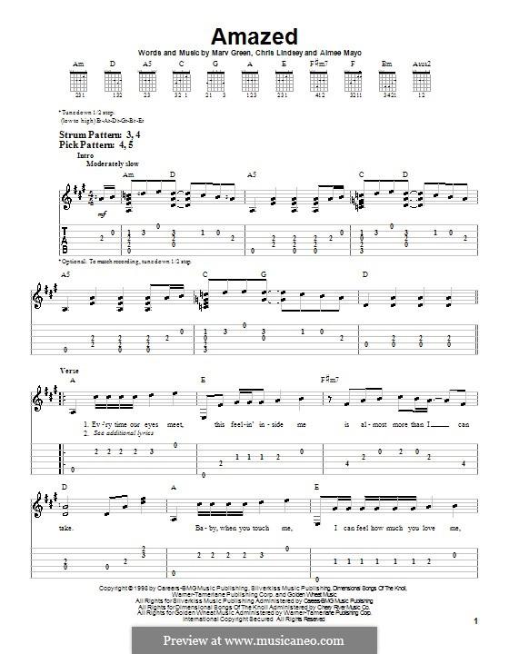 Amazed (Lonestar): Für Gitarre (Sehr leichte Fassung) by Aimee Mayo, Chris Lindsey, Marv Green