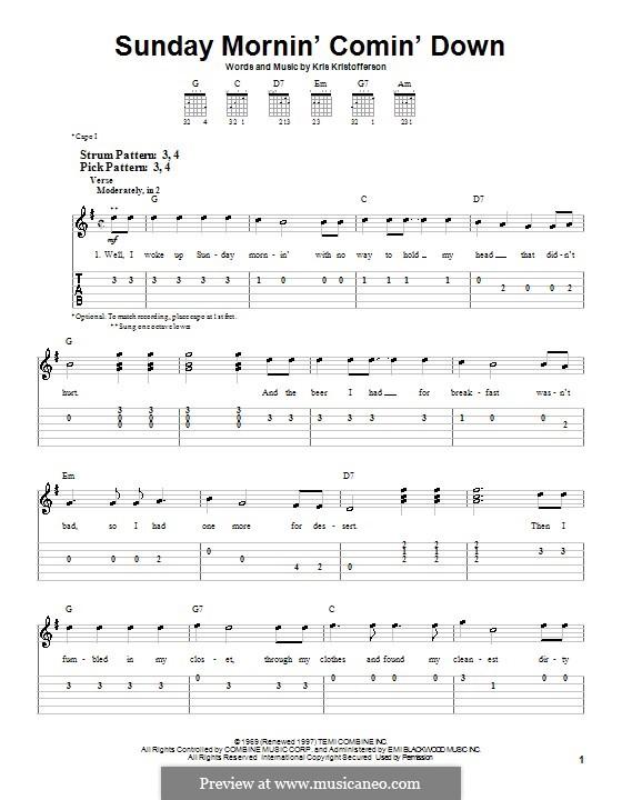 Sunday Mornin' Comin' Down: Für Gitarre (Sehr leichte Fassung) by Kris Kristofferson
