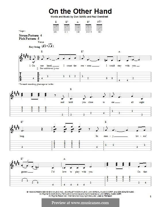 On the Other Hand (Randy Travis): Für Gitarre (Sehr leichte Fassung) by Don Schlitz, Paul Overstreet