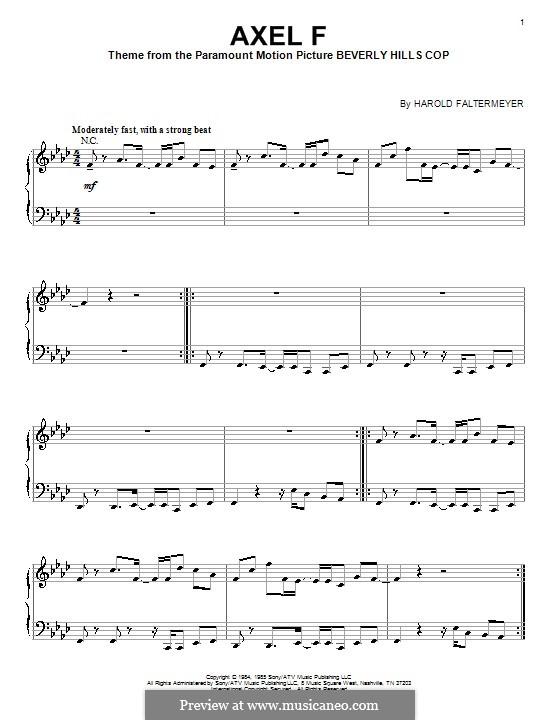 Axel F (from Beverley Hills Cop): Für Klavier by Harold Faltermeyer