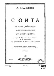 Raimonda, Op.57: Suite. Introduktion zum Szene I, Akt I – Partitur by Alexander Glazunov