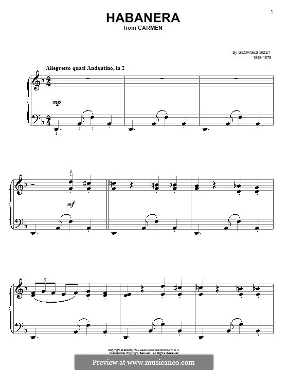 Habanera: Klavierversion für Anfänger by Georges Bizet
