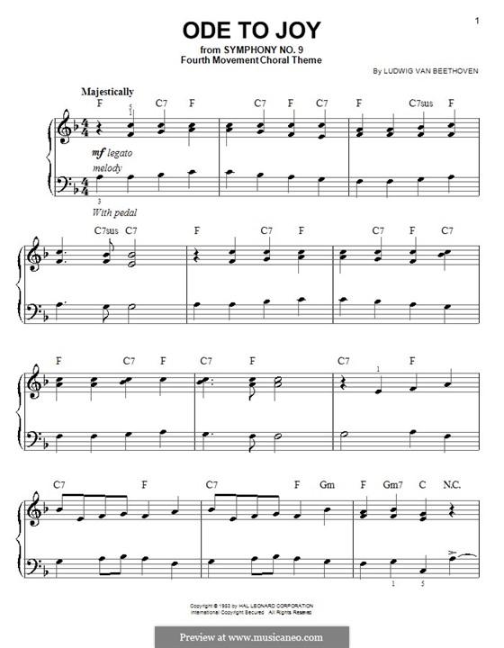Ode an die Freude, für Klavier: Klavierversion für Anfänger (F-Dur) by Ludwig van Beethoven