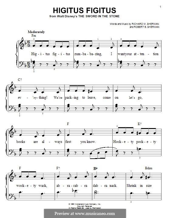 Higitus Figitus: Für Klavier, leicht by Richard M. Sherman, Robert B. Sherman