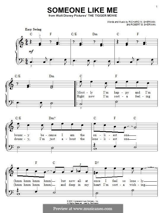 Someone Like Me: Für Klavier, leicht by Richard M. Sherman, Robert B. Sherman