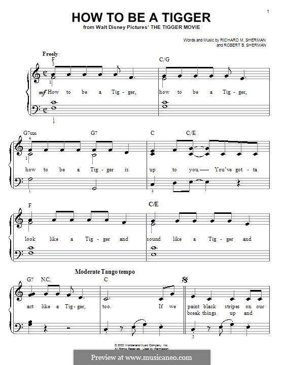 How To Be a Tigger: Für Klavier, leicht by Richard M. Sherman, Robert B. Sherman