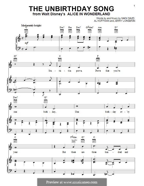 The Unbirthday Song: Für Stimme und Klavier (oder Gitarre) by Al Hoffman, Jerry Livingston, Mack David