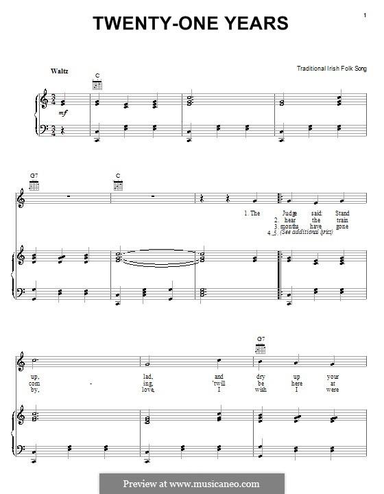 Twenty-One Years: Für Stimme und Klavier (oder Gitarre) by folklore