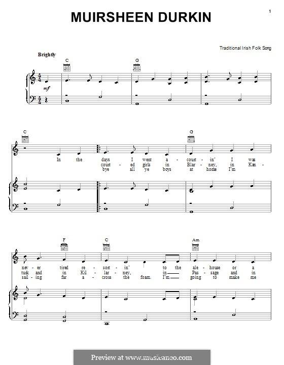 Muirsheen Durkin: Für Stimme und Klavier (oder Gitarre) by folklore
