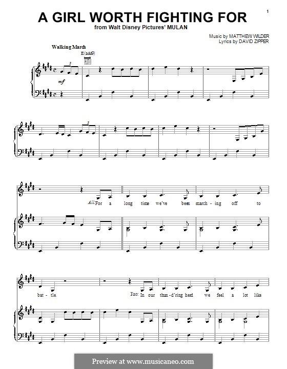 A Girl Worth Fighting for: Für Stimme und Klavier (oder Gitarre) by Matthew Wilder