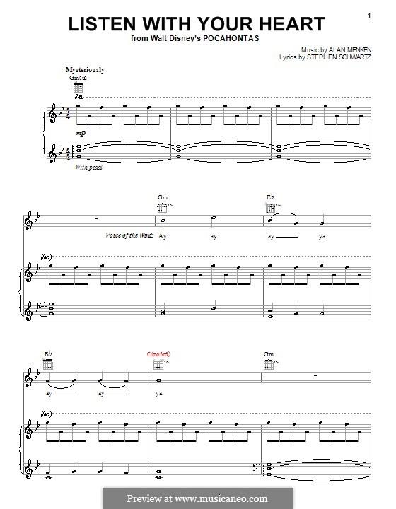 Listen with Your Heart: Für Stimme und Klavier (oder Gitarre) by Alan Menken