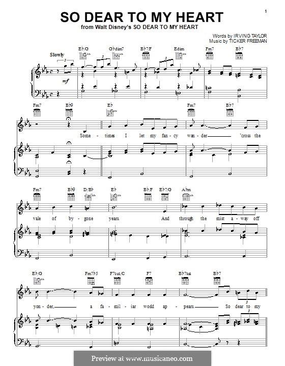 So Dear to My Heart (Peggy Lee): Für Stimme und Klavier (oder Gitarre) by Irving Taylor, Ticker Freeman