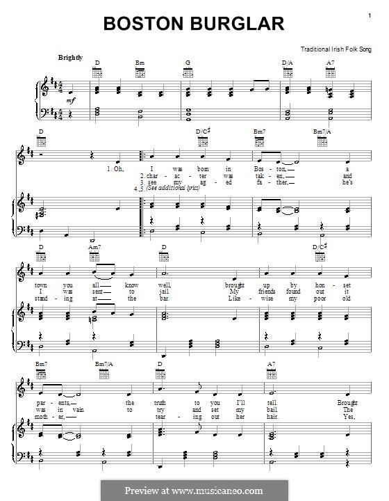 Boston Burglar: Für Stimme und Klavier (oder Gitarre) by folklore