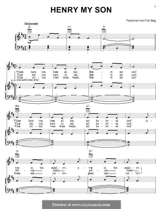 Henry My Son: Für Stimme und Klavier (oder Gitarre) by folklore